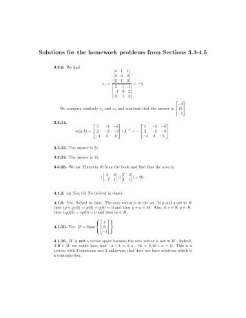 Solutions for the homework problems from Sections 3.3-4.5