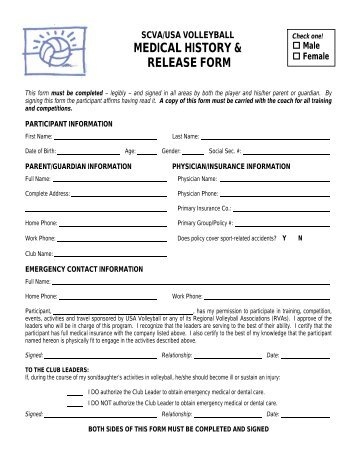 MEDICAL HISTORY & RELEASE FORM