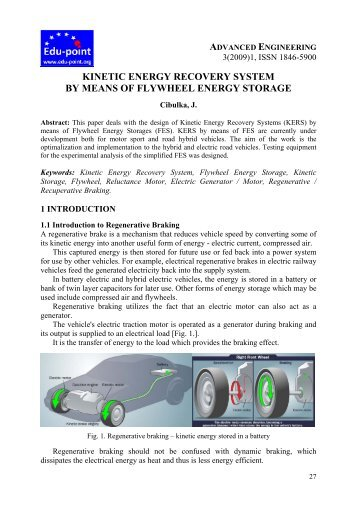 kinetic energy recovery system by means of flywheel energy storage