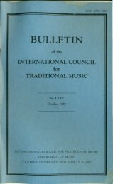 Oct 1989 - International Council for Traditional Music