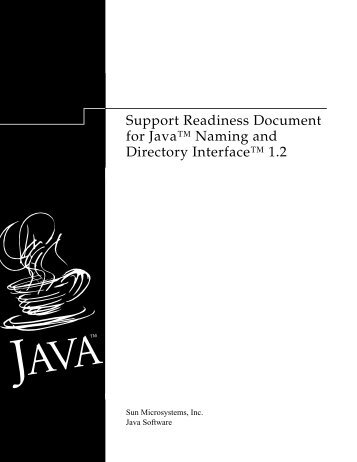 "Support Readiness Document for Javaâ""¢ Naming and Directory ..."