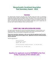 Post Secondary Award Application - Massachusetts Vocational ...