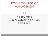 COLLEGE OF MANAGEMENT Group Advising Session for Juniors
