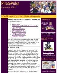 Enews November 2004 - PirateAlumni.com