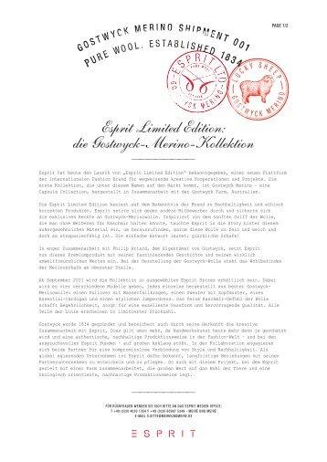 Esprit Limited Edition: die Gostwyck-Merino-Kollektion - Fashion
