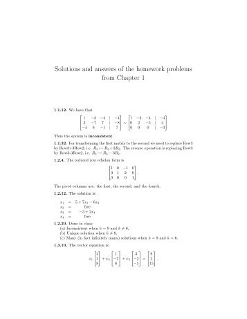 Solutions and answers of the homework problems from Chapter 1