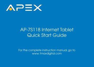 AP-7S118 Internet Tablet Quick Start Guide - TMAX Digital