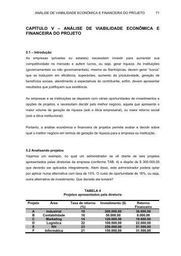 CAPÍTULO V – ANÁLISE ECONÔMICA E FINANCEIRA DO ... - DEMC