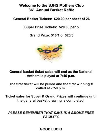 the SJHS Mothers Club 36th Annual Basket Raffle - St. Joseph High ...