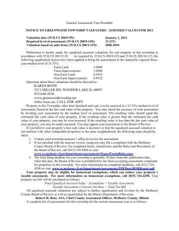 KAREN ROTH 5211 MILLER RD, WONDER ... - McHenry County