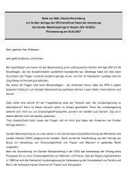 Rede im Hessischen Landtag zur Großen Anfrage der SPD ...