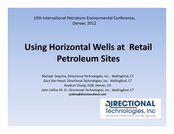 Using Horizontal Wells at Retail Petroleum Sites - IPEC
