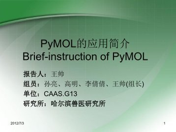 PyMOL的应用简介Brief-instruction of PyMOL - abc