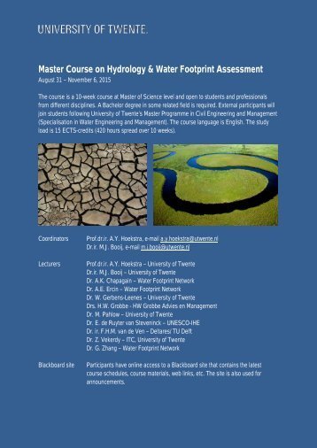 Hydrology-WaterFootprintAssessment-Mastercourse-SepOct2015