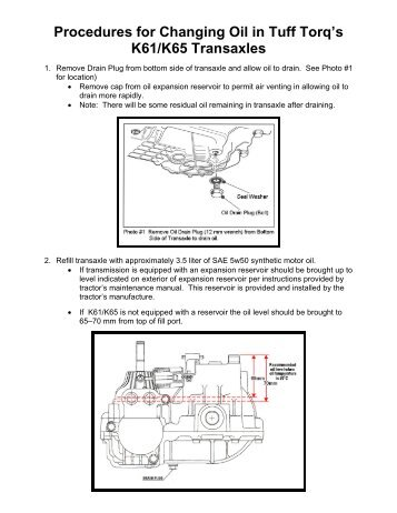 Procedures for Changing Oil in Tuff Torq's K61/K65 ... - Tuff Torq Parts