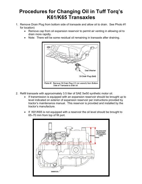 Procedures for Changing Oil in Tuff Torq's K61/K65     - Tuff Torq Parts
