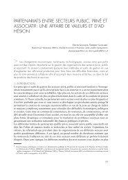 Partenariats entre secteurs Public, Privé et associatif - Institut de ...