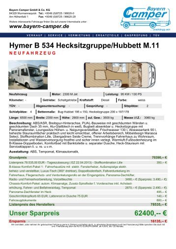 Hymer B 534 Hecksitzgruppe/Hubbett M.11 - Bayern-Camper