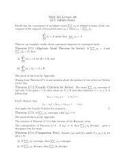 Math 341 Lecture #9 §2.7: Infinite Series Theorem 2.7.1 (Algebraic ...