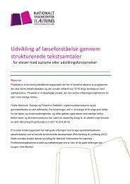 Udvikling af læseforståelse gennem strukturerede tekstsamtaler