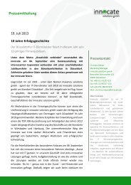 10 Jahre Firmengeschichte - innocate solutions gmbh