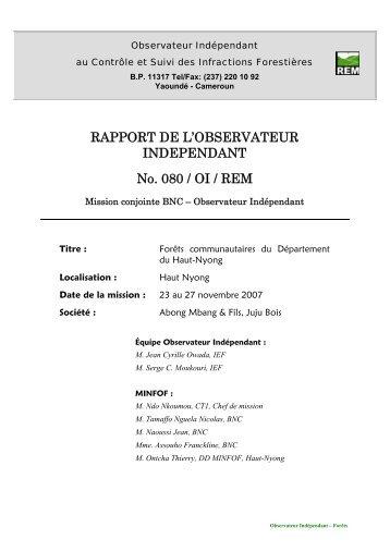 Rapport de mission REM N°080 Cameroun - Observateur ...