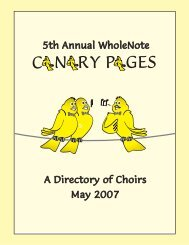 Canary Pages Choral Directory May 2007 WholeNote Magazine
