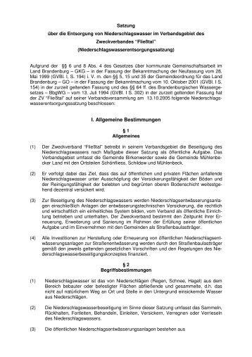 I. Allgemeine Bestimmungen - ZV Fliesstal