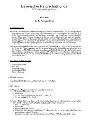 Bayerischer Naturschutzfonds - Merkblatt für die Antragstellung