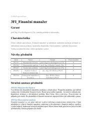 3FI Finanční manažer - Katedra podnikové ekonomiky