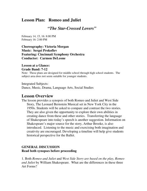 "lesson plan romeo and juliet ""the star cincinnati ballet"