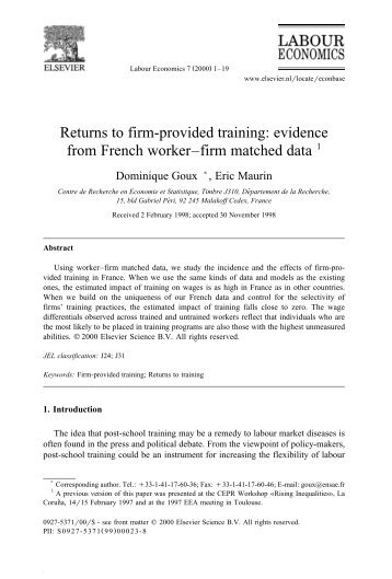 Returns to firm-provided training: evidence from ... - Jourdan.ens.fr