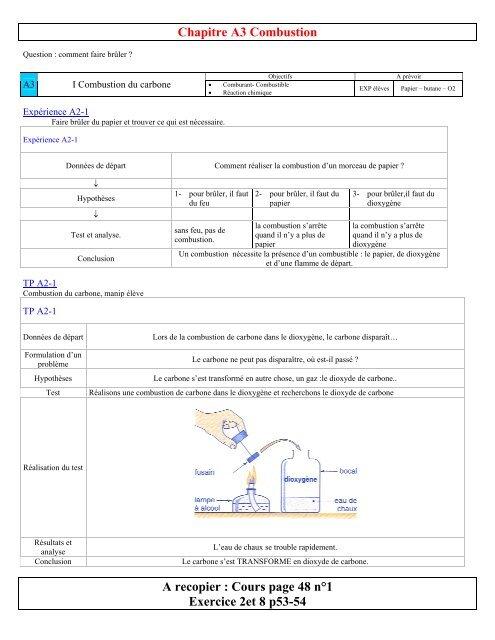 Chapitre A2 Combustion Physiquecollege Leclercfr