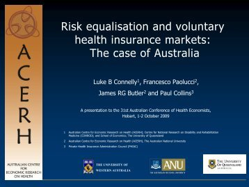 Risk equalisation and voluntary health insurance markets: The case ...