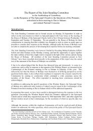 The Report of the Joint Standing Committee - Anglican Communion