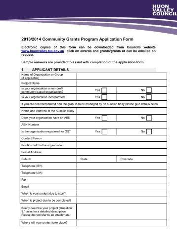 2013/2014 Community Grants Program Application Form