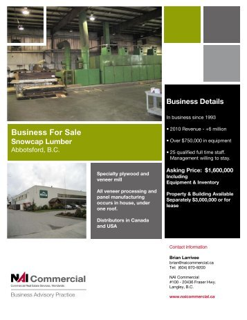 Business For Sale - NAI Commercial