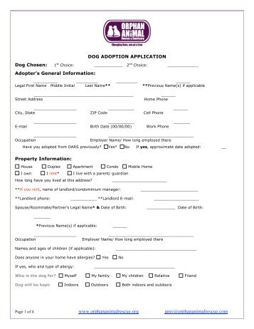 dog adoption application - Orphan Animal Rescue and Sanctuary