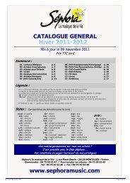Catalogue Général Hiver 2011-2012 - Sephoramusic.com