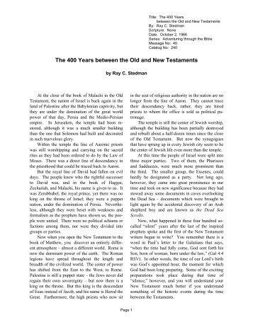 Events between the Testaments - Bible Study