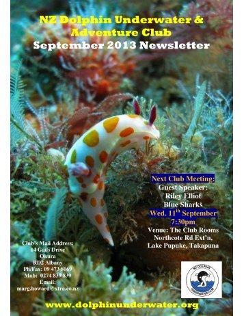NZ Dolphin Underwater & Adventure Club September 2013 Newsletter