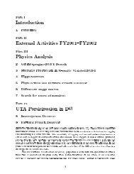 Part I Introduction 1 Personnel Part II External Activities FYTVVX ...