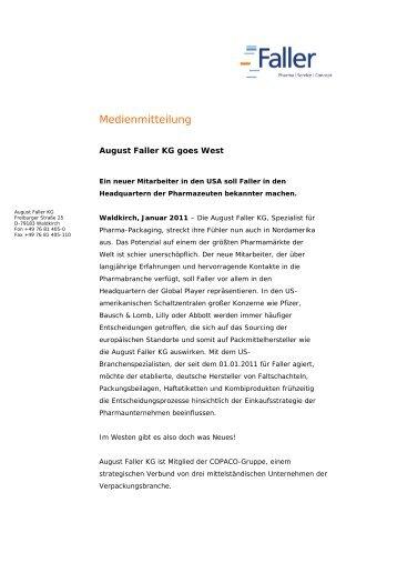 Medienmitteilung - August Faller KG