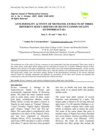anti-implantation activities of methanol extracts of three different ...