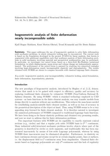 Isogeometric analysis of finite deformation nearly incompressible ...