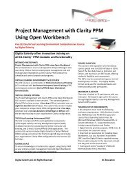 Project Management with Clarity PPM Using Open ... - Digital Celerity