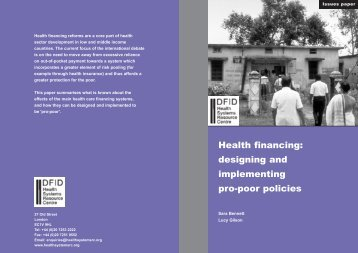 Health financing: designing and implementing pro-poor policies