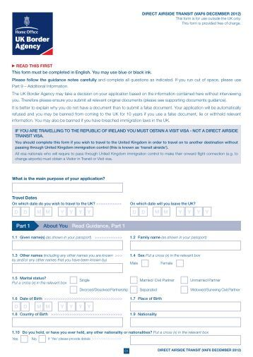 VAF6 application form - direct airside transit - UK Border Agency