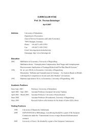 CURRICULUM VITAE Prof. Dr. Thomas Beissinger - Labour ...