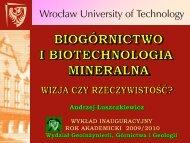 wykład inauguracyjny rok akademicki 2009/2010 - Zakład Przeróbki ...